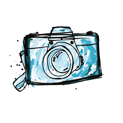 Blue Camera Doodle Image